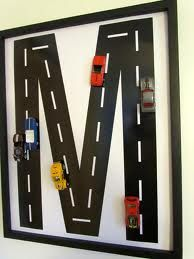 DIY Race Car Monogram Wall Art Boy Room Decor Its proving harder for me to give up all his old toys. Maybe he'll like this idea. Car Monogram, Monogram Wall Art, Letter Wall Art, Initial Wall, Monogram Letters, Wall Initials, Boys Room Decor, Kids Bedroom, Nursery Decor