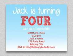 Red and Blue Birthday Invitation  Boys by TheTrendyButterfly
