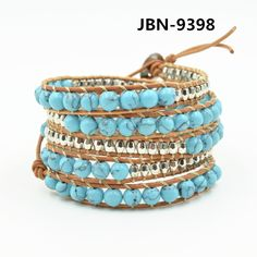 2016 Hot Sale Charm bead beads bracelet turquoise and silver bead handmade Multilayer Braided Bracelets For Women JBN-9398