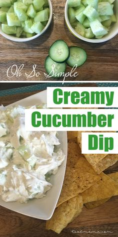 Creamy cucumber dip -- super easy and packed with flavor.  Pair with tortilla chips, pita chips, crackers or veggies!