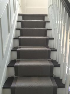 Painted stairs dark gray carpet on staircase ideas which make your look new hallway grey living Hallway Carpet, Hallway Flooring, Carpet Stairs, Stairs With Carpet Runner, Carpet Stair Treads, Basement Carpet, Painted Staircases, Painted Stairs, Grey Hallway