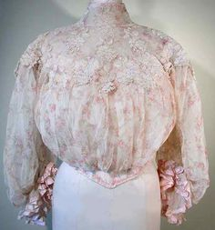 Vintage Fashion Guild : Fashion Timeline : 1900 To 1910. Stunning Edwardian blouse, white with a light shade of pink. So feminine and elegant.