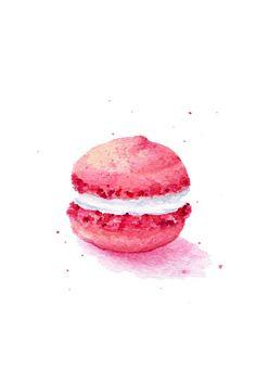 Pittura originale - A5 Macaron rosa (cibo dolce acquerelli Wall Art, natura morta)