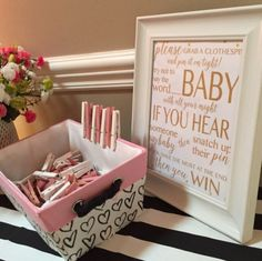 Baby Shower Games - Don't Say Baby Sign - Clothes Pin Baby Shower Game Baby Shower Game Prizes, Baby Shower Gifts For Guests, Baby Shower Party Games, Bany Shower Games, Baby Shower Goodie Bags, Baby Shower Signs, Baby Shower Fun, Office Baby Showers, Girl Baby Showers