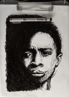 Line sketch by BriVT. Lucas Sinclair. Stranger Things. Caleb McLaughlin. [Instagram- BriVTart]