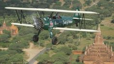Tracey Curtis-Taylor's biplane over Bagan, in Myanmar