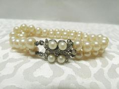 Vintage Double Strand Faux Pearl Bracelet with by CatzShinySmiles