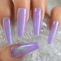Light Purple Nails, Purple Chrome Nails, Purple Ombre Nails, Purple Acrylic Nails, Best Acrylic Nails, Purple Nails With Glitter, Holographic Nails Acrylic, Plum Purple, Girls Nail Designs