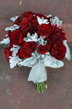 Red Rosebud and Dusty Miller Bridal Bouquet | Dramatic 1930's Inspired Red and Gray Wedding