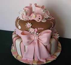 Baby Shower Cake---Love the Cute Baby Shoes and Binky Baby Cakes, Baby Shower Cakes, Girl Shower Cake, Pretty Cakes, Beautiful Cakes, Amazing Cakes, Cupcakes, Cupcake Cakes, Food Cakes