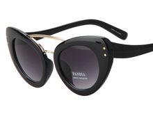 ff04fda98505a 2015 New Cat eye Sunglasses women brand flat top double rivets tinted sun  lenses eyewear party