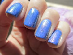 Anima Something Awful Nail Polish Thread: Hot Mess Fuego over Sally Hansen Pacific Blue Swatch