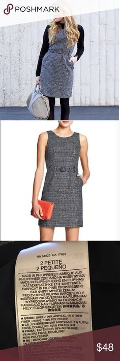 Banana Republic Belted Tweed Sheath Dress Classic B&W Tweed belted Sheath Dress by Banana Republic. Love it paired with booties! Size 2P. EUC. Banana Republic Dresses