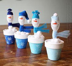 Spoon Snowmen in Clay Pots by Amanda Formaro of Crafts by Amanda
