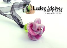 Artiflax - contest - 2nd Place Prize Pack  Pink glass pendant from Lesley McIver Glass Art