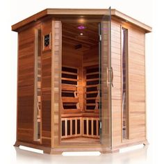 The Bristol Bay infrared corner sauna has deep bench seating on each side and comfortably seats 4 people. A total of 10 carbon nano heaters will quickly get the sauna to your desired temperature Infrared Heater, Infrared Sauna, Steam Shower Units, Bristol Bay, Traditional Saunas, Red Cedar Wood, Golden Design, Lawn Furniture, Exterior Lighting