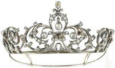 Christie's Sale 2530, Lot 29, Milan Jewels, November 2011: A little antique tiara of old cut diamonds, of foliate design in old cut and rose cut diamonds, center removable, end of the 19th century http://www.christies.com/lotfinder/jewelry/piccolo-diadema-antico-in-brillanti-taglio-vecchio-5506918-details.aspx