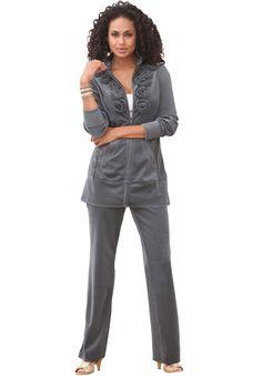6d6e0e7acaaf1 Flower Velour Jogging Suit - Under  55! Curvy Outfits