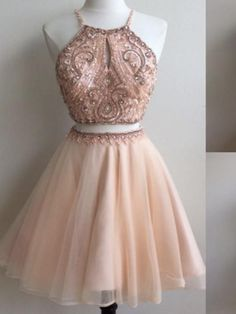 Two piece homecoming dress - Two Piece Champagne Tulle Beaded Short Homecoming Dress from wendyhouse – Two piece homecoming dress Dama Dresses, Hoco Dresses, Quinceanera Dresses, Sexy Dresses, Cute Dresses, Bridesmaid Dresses, Beautiful Dresses, Formal Dresses, Simple Homecoming Dresses