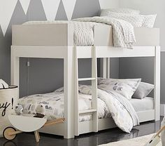 Stylish and sleek, the Milo is a modern choice for a bunk bed. Its smooth lines, Simply White and Pebble finish and smart details make it perfect for a minimalist. The lower bunk option is innovative and keeps the design grounded. Bunk Beds For Girls Room, Bunk Bed Sets, Bunk Beds Boys, Bunk Beds With Stairs, Full Bunk Beds, Kid Beds, Bed Rooms, Loft Beds, Low Height Bunk Beds
