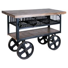 Industrial-inspired wood and iron bar cart with three pull-out baskets. Product: Bar cartConstruction Material: Wood and ironColor: BrownFeatures: Three deep pull out basket style compartmentsDimensions: H x W x D