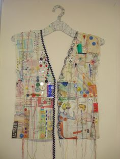 Stitched paper hanging by lizziegolden Recycled Plastic Bags, Creative Textiles, Painted Paper, Fabric Manipulation, Journal Cards, Paper Piecing, Textile Art, Altered Art, Art Lessons