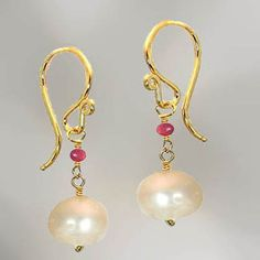 14kt gold filled earring with sweet pink ruby forever linked with ivory freshwater Pearl. Hand formed French ear wires. Artisan made in the USA.