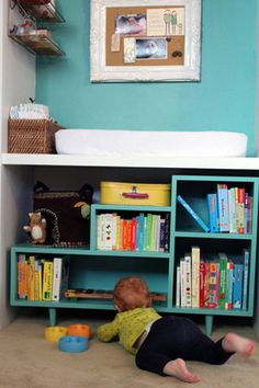 changing table with book & toy storage