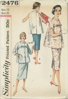An unused original ca. 1960's Simplicity Pattern 2476.  Slender skirt featuring adjustable cut-out front has center back kick-pleat.  Top has small pointed collar; button closing; bias trim; self-fabric bow and welt pockets; a button-trimmed belt and pleats in back.  V. 1 and 2 top and skirt are of same fabric.  V. 1 has 3/4 set-in sleeves, V. 2 short, set-in sleeves with scallop edge.  V. 3 contrast top is sleeveless.