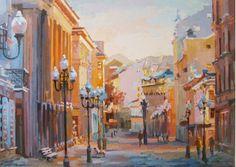 Картины :: Раннее утро на Старом Арбате | Купить картину у художника в подарок начальнику начальнице для интерьера | Москва городской пейзаж импрессионизм масло