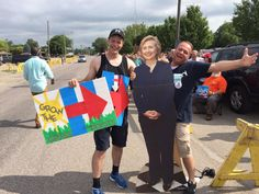 """Hillary Clinton's """"super volunteers"""" stationed outside her rally today at the Iowa State Fairgrounds"""