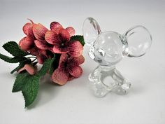 "Vintage Fenton 1980's  Crystal  Mouse  5148 CY with Original Fenton Lable. The Mouse is  2 3/4"" Tall and has the Fenton Logo.  Great Gift! by VintageQualityFinds on Etsy"
