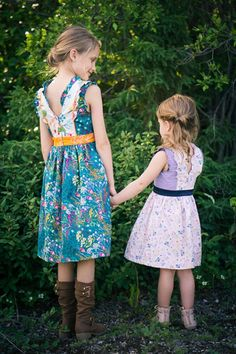 A special occasion dress with zipper closure. Gathered, straight or high low circle skirt and flounces in the princess lines.  Optional darted bodice pieces for larger sizes.