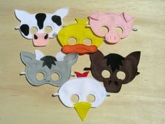 Farm animal masks for barnyard birthday