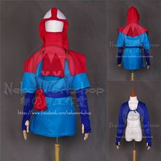 【transaction including】 1. hood 2. outer top 3. blue inner top 4. sash 5. red pouch 6. leg warmers 7. pants 8. shoe cover (optional) ***not shown in