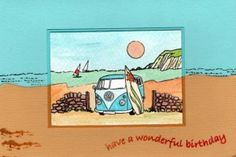Coastal Card by Jenny Mayes Birthday Greetings, Birthday Cards, Paper Crafts, Card Crafts, Pen And Watercolor, Art Cards, Beach Themes, Stamping, Card Ideas