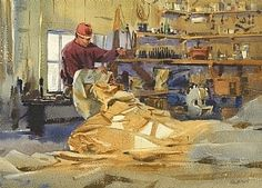 Mending by Mike Kowalski Watercolor ~ 11 x 15 Human Painting, Painting People, Figure Painting, Watercolor And Ink, Watercolor Paintings, Watercolors, Same Ol Same Ol, Various Artists, Art Pictures
