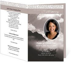 Printable Funeral Bulletins Template Outdoor Theme : Mountain Top Preprinted Title Letter Single Fold Program Template