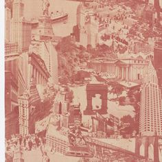 New York Panorama, ca. 1935. Length of printed cotton with a photo-montage of New York City buildings, bridges and sites, in red on white. Includes the Chrysler, Empire State and Woolworth buildings, the Statue of Liberty, statue of W.T. Sherman, the Brooklyn and Manhattan bridges, Grand Central Terminal, and the old Penn Station.