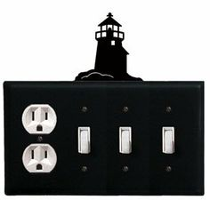 Lighthouse - Single Outlet and Triple Switch Cover by Village Wrought Iron. $18.32. Lighthouse - Single Outlet and Triple Switch CoverApprox. 8 1/4 In. W x 8 In. H Please allow 4 to 6 weeks for delivery.