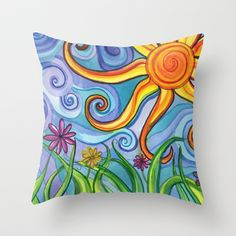 Sunny Skies Throw Pillow by Paint, Fabric, Whimsy NEW items available on Society6!
