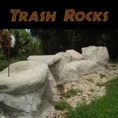 Start Out Your Very Own Sewing Company Picture Of Trash Rocks - Eliminate Unrecyclable Trash Cement Art, Concrete Crafts, Concrete Art, Concrete Projects, Outdoor Projects, Garden Projects, Garden Ideas, Outdoor Ideas, Cement Garden