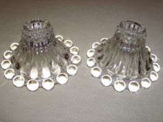 VINTAGE ONE PAIR OF IMPERIAL CANDLEWICK GLASS CANDLESTICKS. #IMPERIAL