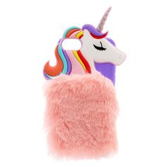 Rainbow Unicorn Faux Fur Phone Case | Rainbows hair, iridescent glitter and super-soft faux fur come together to create a truly magical phone case. Purple TPU phone case features a 3D rainbow unicorn wrapped in blush pink faux-fur.