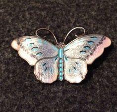 Hroar Prydz Norway Vintage Sterling Silver Pink Blue Enamel Butterfly Pin | eBay