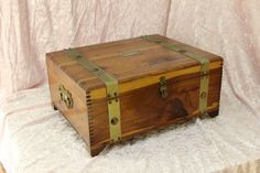 Vintage Solid Cedar Chest Jewelry Storage Box