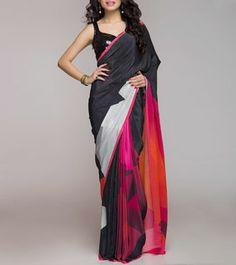 Grey & Black Digitally Printed Silk Crepe Saree