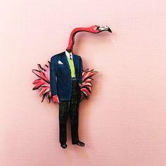 Flamingo Magnet | Animal Refrigerator Magnet | Laser Cut Wood Magnet | Illustrated Dressed Up Flamingo Kitchen Gift by PergamoPaperGoods on Etsy https://www.etsy.com/listing/540898089/flamingo-magnet-animal-refrigerator