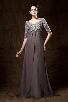Graceful Lace/Appliques A-line V-Neck Half Sleeves Floor-Length Taline's Mother of the Bride Dress