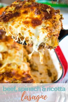 This beef spinach and ricotta lasagne is the best!  Warning: This dinner will result in cheese on chins, sauce on faces and fingers wiping plates clean.   Dinner doesn't get better than this. #kidgredients #UglyPerfect #lasagne #spinach #veggies #ricotta #cheese